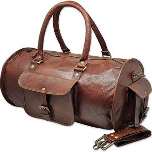 """New 18"""" Goat Leather Duffle Bag, Carry-on Luggage"""